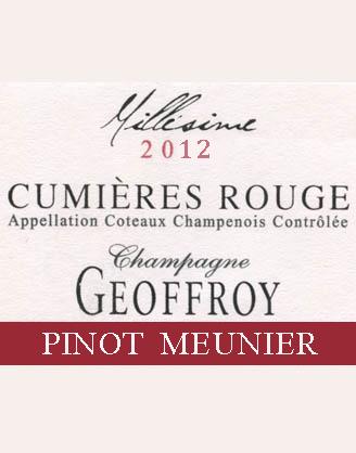 Champagne GEOFFROY: CUMIÉRES ROUGE Meunier 2012 Coteaux champenois AOC